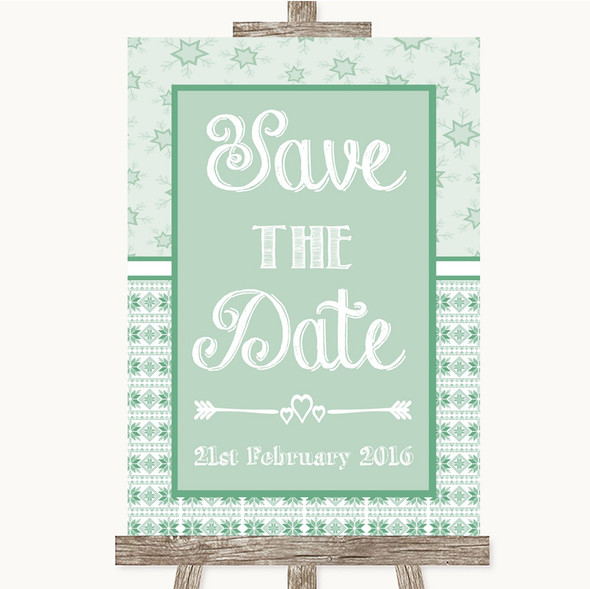 Winter Green Save The Date Personalised Wedding Sign