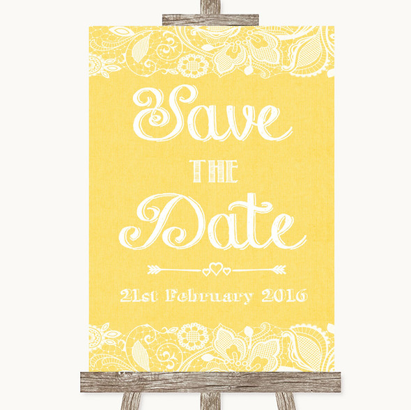Yellow Burlap & Lace Save The Date Personalised Wedding Sign