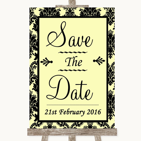 Yellow Damask Save The Date Personalised Wedding Sign