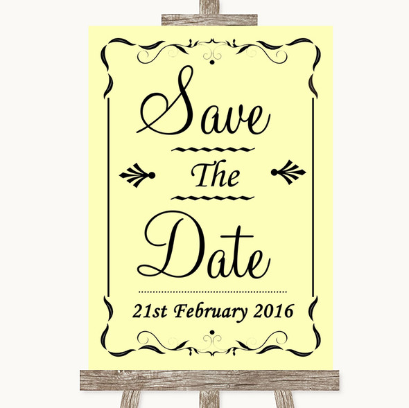 Yellow Save The Date Personalised Wedding Sign
