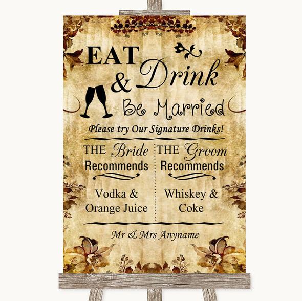 Autumn Vintage Signature Favourite Drinks Personalised Wedding Sign