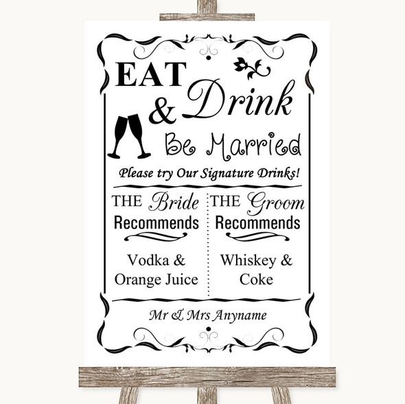 Black & White Signature Favourite Drinks Personalised Wedding Sign