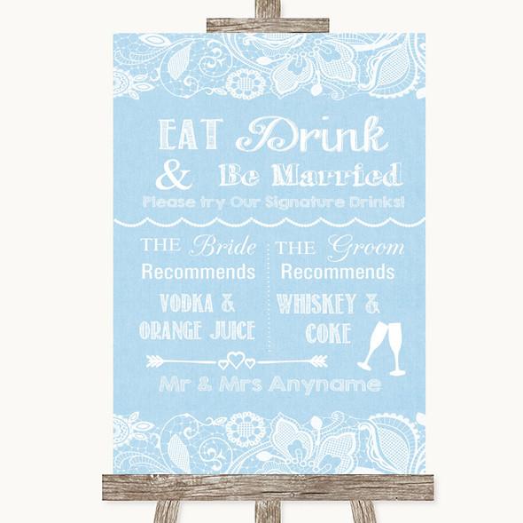 Blue Burlap & Lace Signature Favourite Drinks Personalised Wedding Sign
