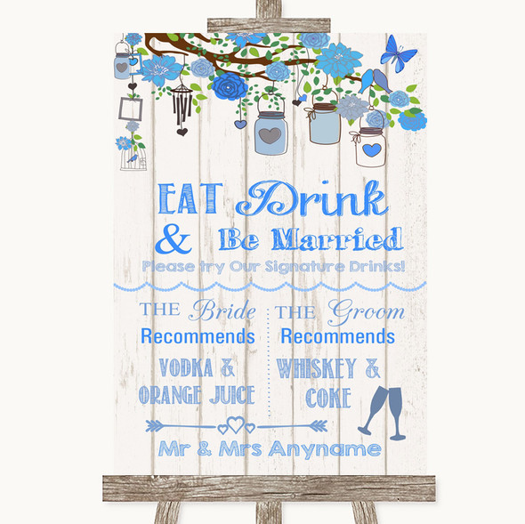 Blue Rustic Wood Signature Favourite Drinks Personalised Wedding Sign