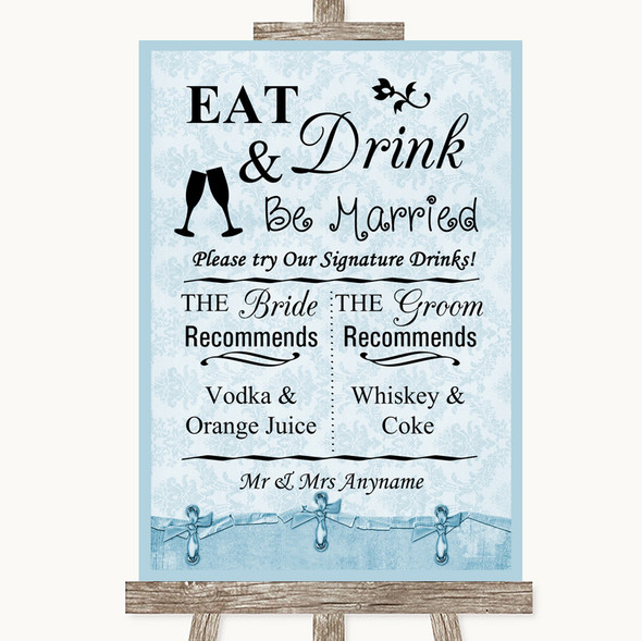 Blue Shabby Chic Signature Favourite Drinks Personalised Wedding Sign