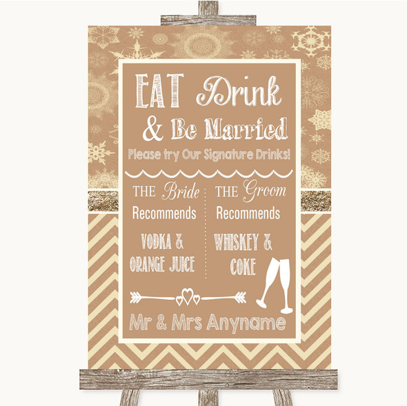 Brown Winter Signature Favourite Drinks Personalised Wedding Sign