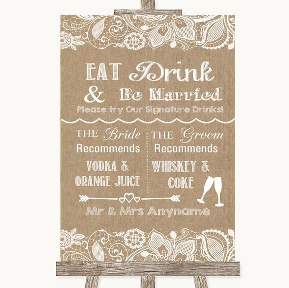 Burlap & Lace Signature Favourite Drinks Personalised Wedding Sign