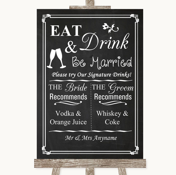 Chalk Style Signature Favourite Drinks Personalised Wedding Sign