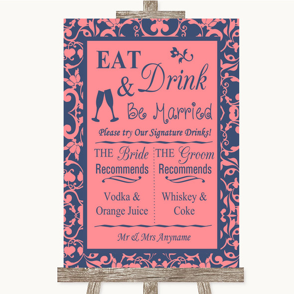 Coral Pink & Blue Signature Favourite Drinks Personalised Wedding Sign