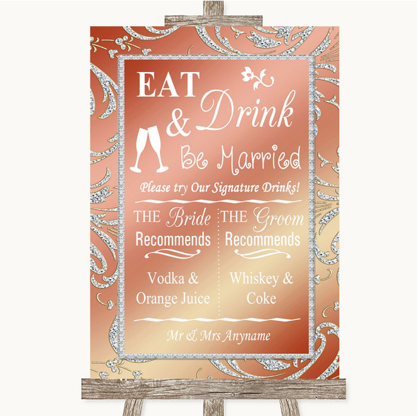 Coral Pink Signature Favourite Drinks Personalised Wedding Sign