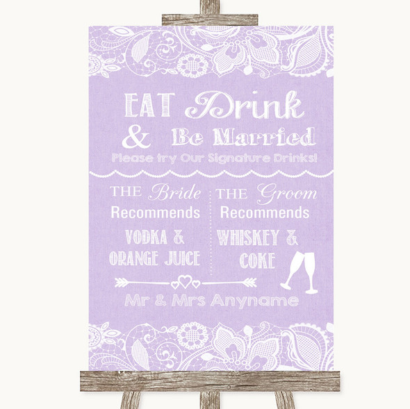 Lilac Burlap & Lace Signature Favourite Drinks Personalised Wedding Sign