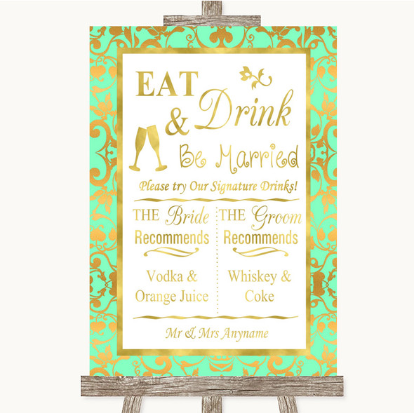 Mint Green & Gold Signature Favourite Drinks Personalised Wedding Sign