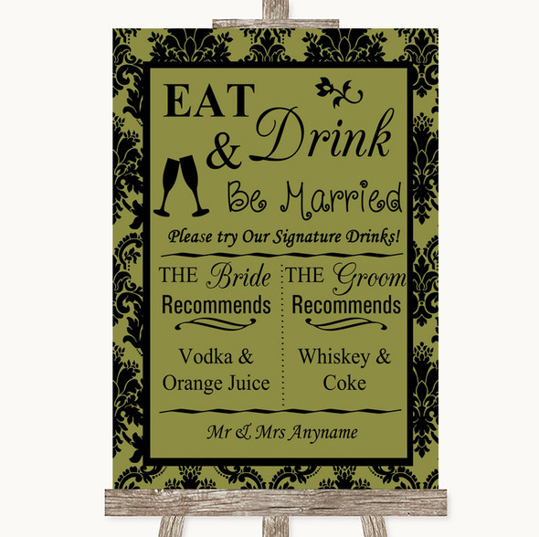 Olive Green Damask Signature Favourite Drinks Personalised Wedding Sign