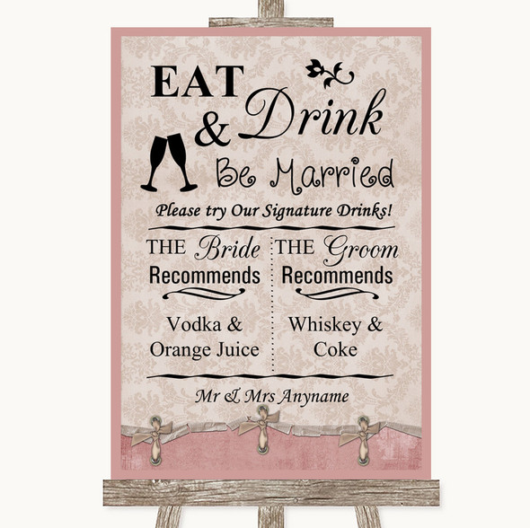 Pink Shabby Chic Signature Favourite Drinks Personalised Wedding Sign
