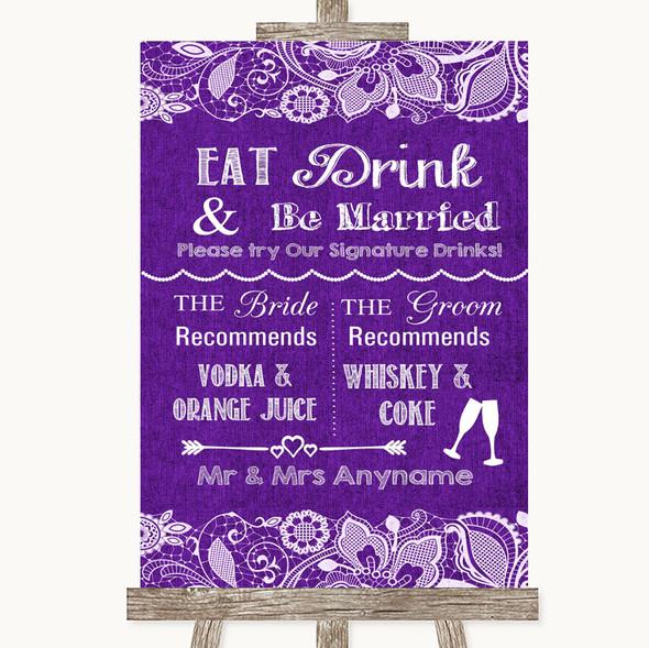 Purple Burlap & Lace Signature Favourite Drinks Personalised Wedding Sign