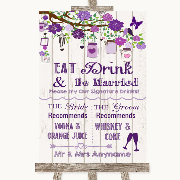 Purple Rustic Wood Signature Favourite Drinks Personalised Wedding Sign