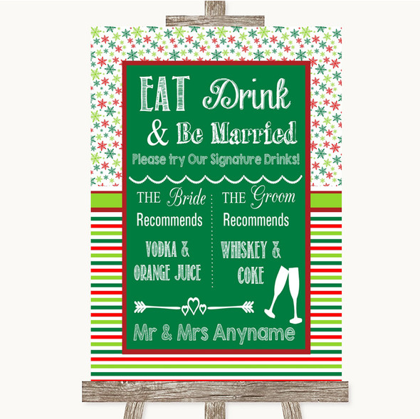 Red & Green Winter Signature Favourite Drinks Personalised Wedding Sign