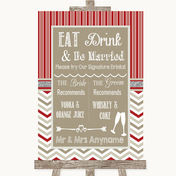 Red & Grey Winter Signature Favourite Drinks Personalised Wedding Sign