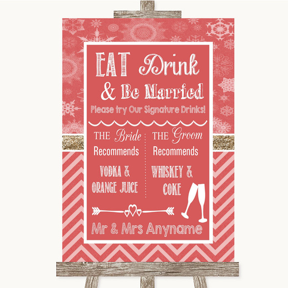 Red Winter Signature Favourite Drinks Personalised Wedding Sign