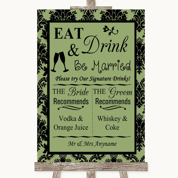 Sage Green Damask Signature Favourite Drinks Personalised Wedding Sign