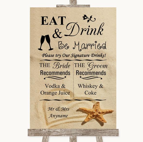 Sandy Beach Signature Favourite Drinks Personalised Wedding Sign