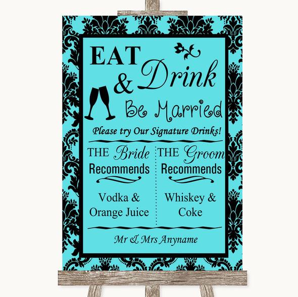 Tiffany Blue Damask Signature Favourite Drinks Personalised Wedding Sign