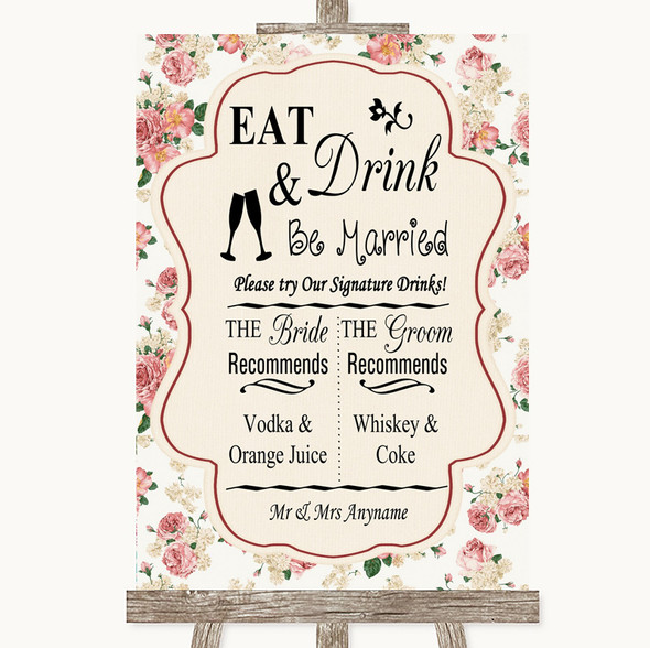 Vintage Roses Signature Favourite Drinks Personalised Wedding Sign
