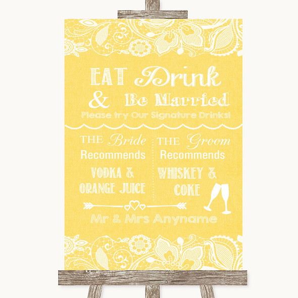Yellow Burlap & Lace Signature Favourite Drinks Personalised Wedding Sign