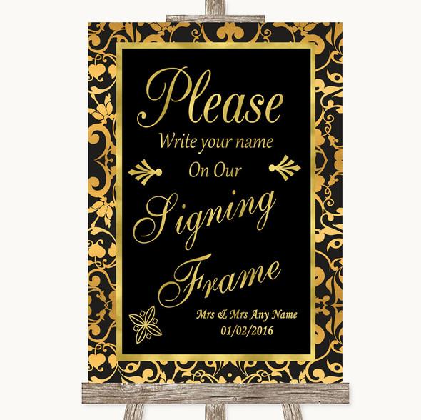 Black & Gold Damask Signing Frame Guestbook Personalised Wedding Sign