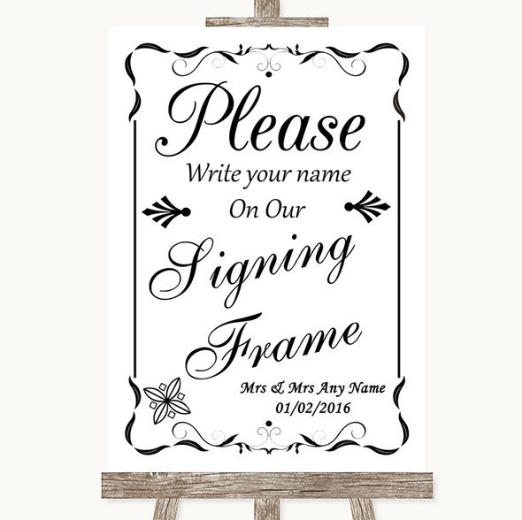 Black & White Signing Frame Guestbook Personalised Wedding Sign