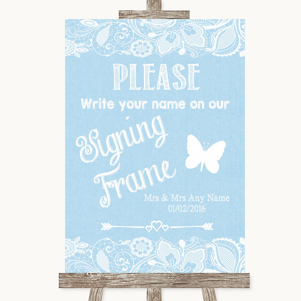 Blue Burlap & Lace Signing Frame Guestbook Personalised Wedding Sign