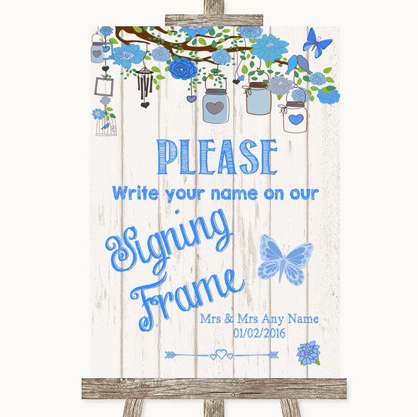 Blue Rustic Wood Signing Frame Guestbook Personalised Wedding Sign