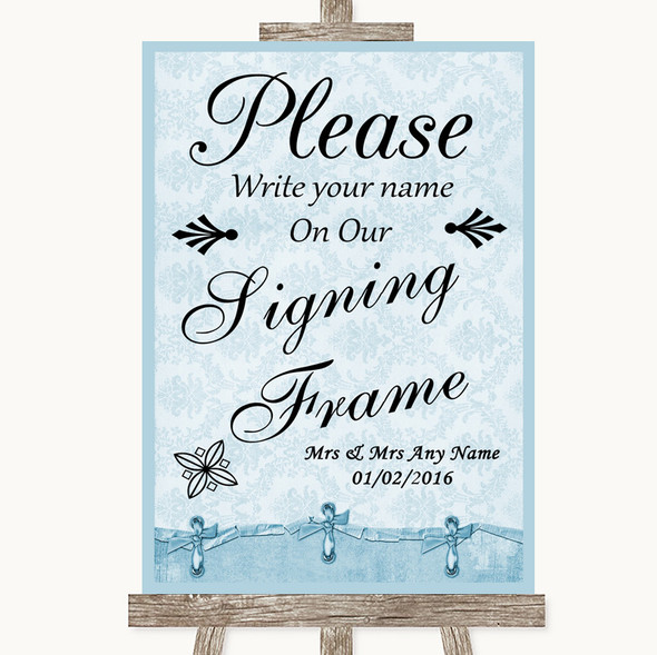 Blue Shabby Chic Signing Frame Guestbook Personalised Wedding Sign