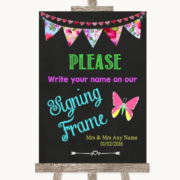 Bright Bunting Chalk Signing Frame Guestbook Personalised Wedding Sign