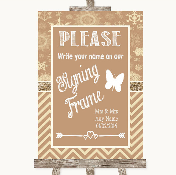 Brown Winter Signing Frame Guestbook Personalised Wedding Sign