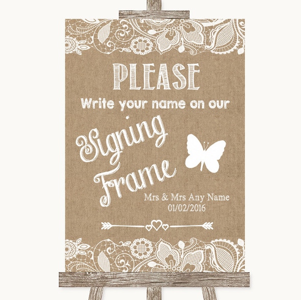 Burlap & Lace Signing Frame Guestbook Personalised Wedding Sign