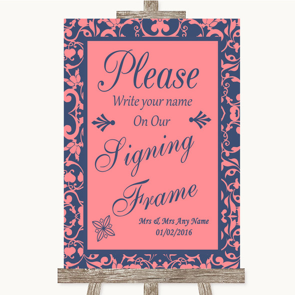 Coral Pink & Blue Signing Frame Guestbook Personalised Wedding Sign
