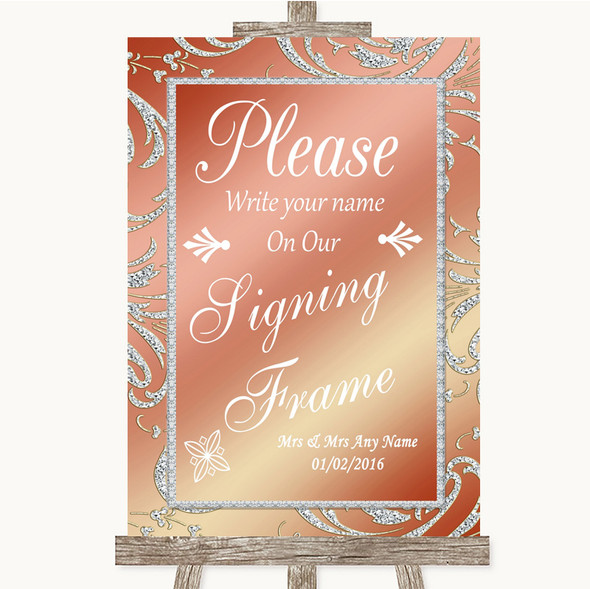 Coral Pink Signing Frame Guestbook Personalised Wedding Sign