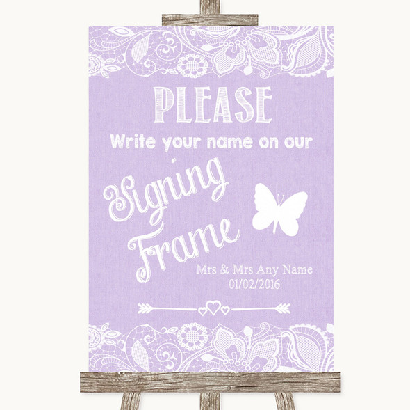 Lilac Burlap & Lace Signing Frame Guestbook Personalised Wedding Sign