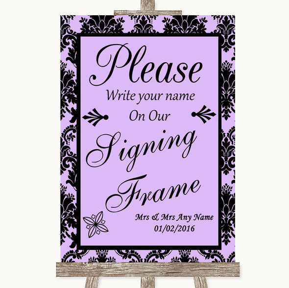 Lilac Damask Signing Frame Guestbook Personalised Wedding Sign