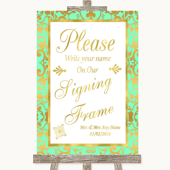 Mint Green & Gold Signing Frame Guestbook Personalised Wedding Sign