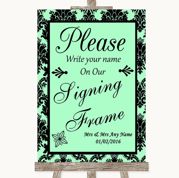 Mint Green Damask Signing Frame Guestbook Personalised Wedding Sign