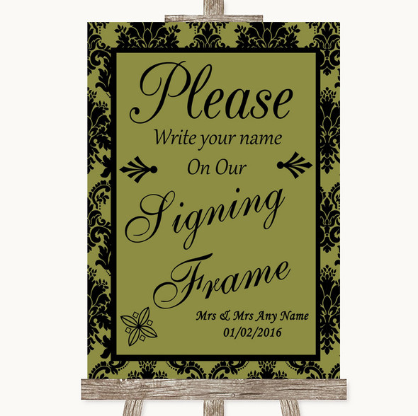 Olive Green Damask Signing Frame Guestbook Personalised Wedding Sign