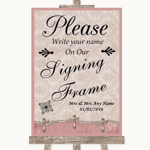 Pink Shabby Chic Signing Frame Guestbook Personalised Wedding Sign