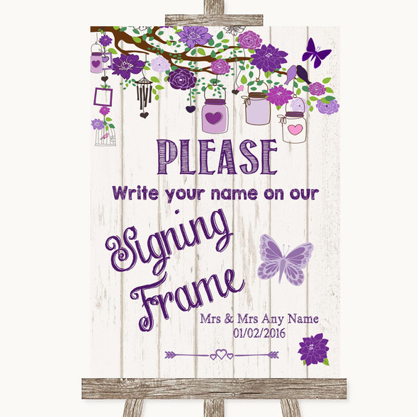 Purple Rustic Wood Signing Frame Guestbook Personalised Wedding Sign