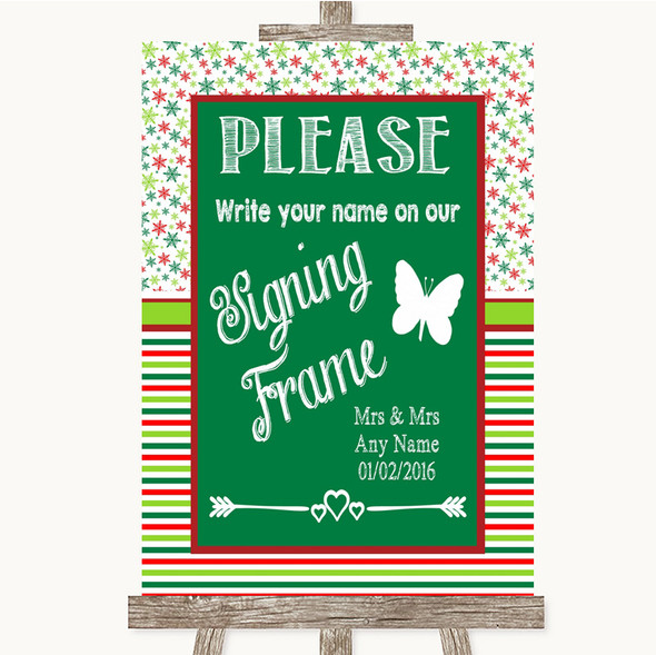Red & Green Winter Signing Frame Guestbook Personalised Wedding Sign