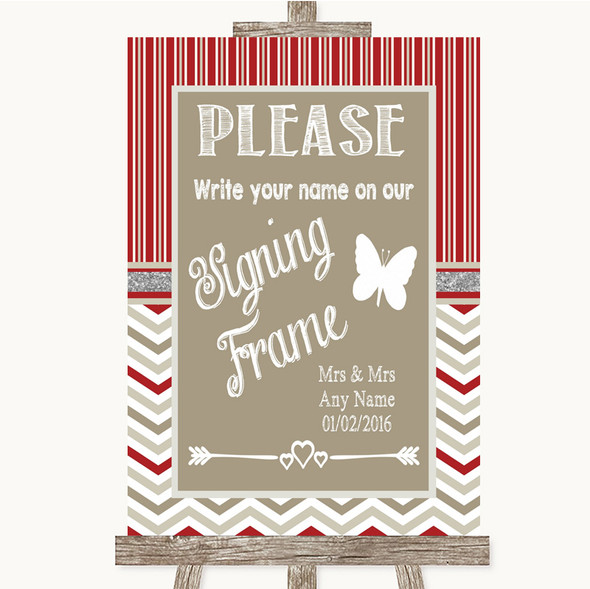 Red & Grey Winter Signing Frame Guestbook Personalised Wedding Sign