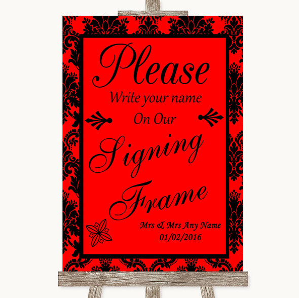 Red Damask Signing Frame Guestbook Personalised Wedding Sign