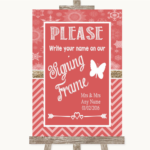 Red Winter Signing Frame Guestbook Personalised Wedding Sign