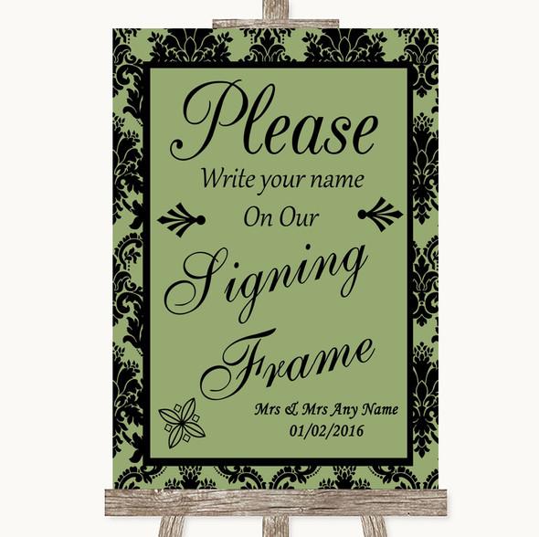 Sage Green Damask Signing Frame Guestbook Personalised Wedding Sign